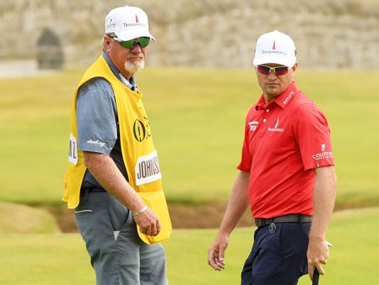 Zach Johnson and former caddie Damon Green